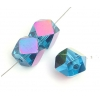"Glass Cut Cube Facetted 8X8mm 16"" Teal/Multi Iris - Strung"